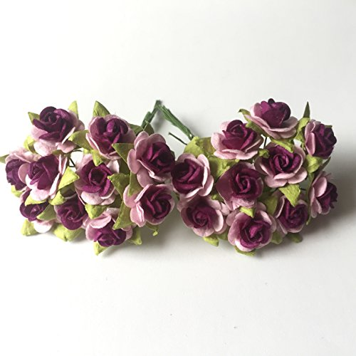 100 (Light Pink & Middle Purple) Mulberry Paper Mini Rose Artificial Flower Scrapbooking Bouquet Diy Craft Handmade in (Valentine's,Wedding etc.) Embellishment Floral Arranging - Christmas Song Guster