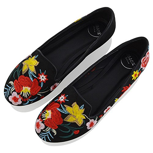 Slip GLAM Loafers Ballerina Black Suede Pumps Womens Faux Flat Floral On ESSEX Embroidered New Ladies Shoes 8wSgIqvd