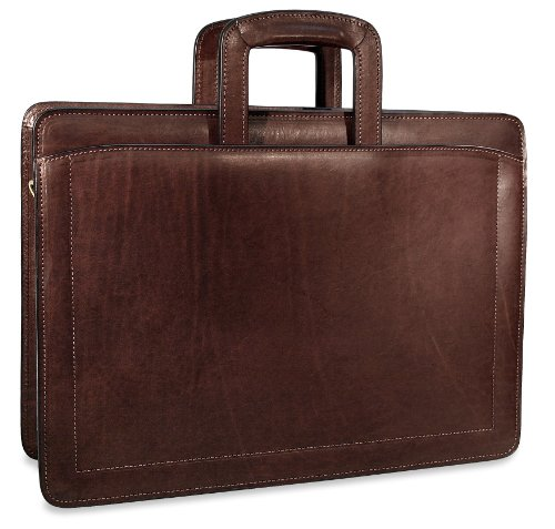 [Personalized Initials Embossing]Jack Georges Belting Double Gusset Top Zip Leather Briefcase in Brown