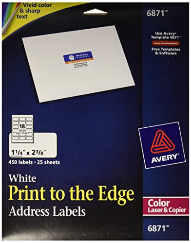 """Avery White Laser Labels for Color Printing, 1-1/4"""" x 2-3/8"""
