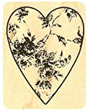 """{Single Count} Unique & Custom (1 1/2"""" by 1 3/4"""" Inches) """"Worn Rose Heart"""" Rectangle Shaped Genuine Wood Mounted Rubber Inking Stamp"""