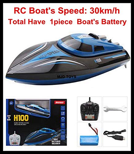 Upgraded ! 40km/h High Speed RC Remote Control Boat H100 2.4GHz 4 CH 30km/h Racing Speed Boat with LCD Screen Toys Kids Gifts 30kmH H100 1 Battery