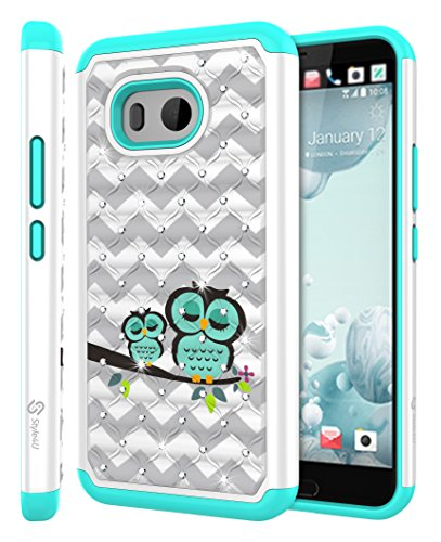 HTC U11 Case, HTC Ocean Case, Style4U [Shockproof] Cute Owl Design Studded Rhinestone Crystal Bling Hybrid Armor Defender Case Cover for HTC U 11 / HTC Ocean with 1 Style4U Stylus [White / Teal]