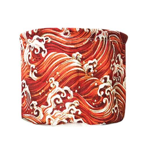MiniPoco Japanese Wave Waterproof Canvas Laundry Clothes Basket Storage Basket Folding Cosmetic Basket Storage Box ()