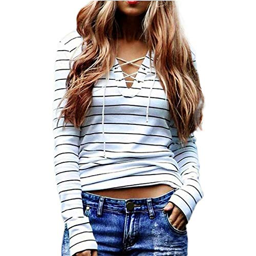 Hufong 2018 Fashion Sexy Lace Up Women's T-Shirts Striped Long Sleeve Casual Bandage Woman T-Shirts and Tops New,L