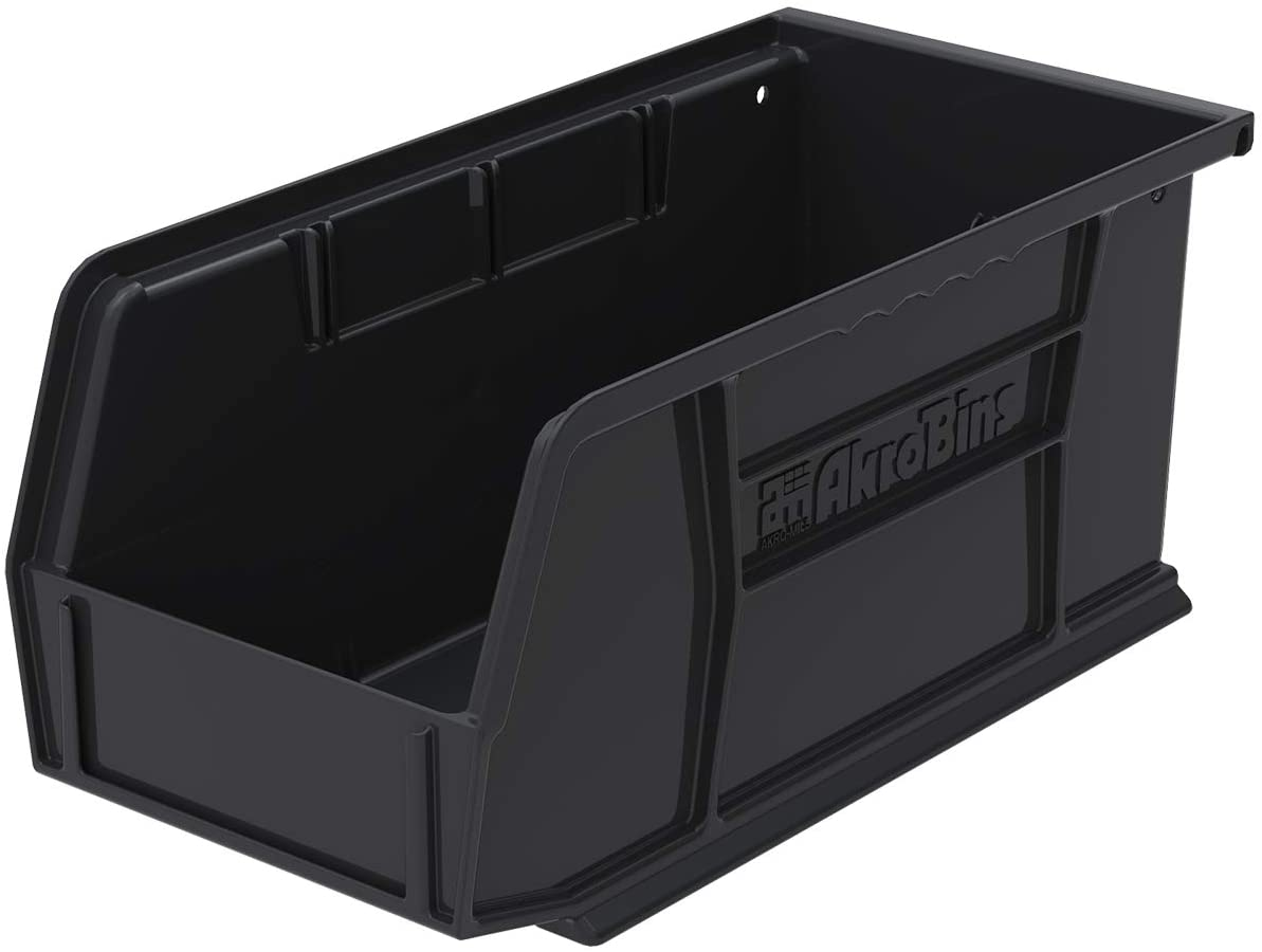 Akro-Mils 30230 11-Inch by 5-Inch by 5-Inch Plastic Storage Stacking Hanging ESD Akro Bin, Black, Case of 12