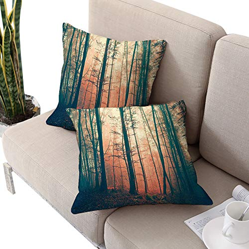 Brandosn Mystic House Decor Square futon Cushion Cover,Light and Vintage Color in Mysterious Autumn Forest Woodland Nature Picture LCoral Dark Green Cushion Cases Pillowcases for Sofa Bedroom -