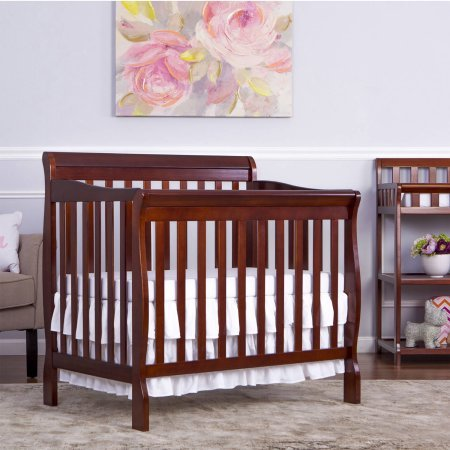 Mini Convertible Crib - Espresso - 4-in-1 Fixed-Side - Crib Converts Into Daybed and Twin Size Bed - Unisex - Wood Material - Solid Frame - Solid Pine Wood Finish BONUS E-book (Crib Fixed Child Care Side)