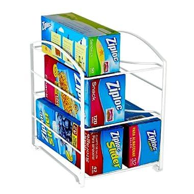 DecoBros Kitchen Wrap Organizer Rack, White (Large, 3-3/4  BOX)