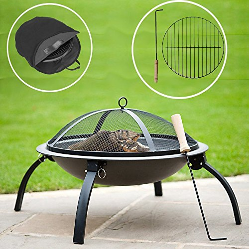 Deluxe Large Round Black Metal 57cm Patio Heater Garden Firepit Fire Pit Barbecue Barbeque BBQ with Poker W/ Free CARRY BAG COVER