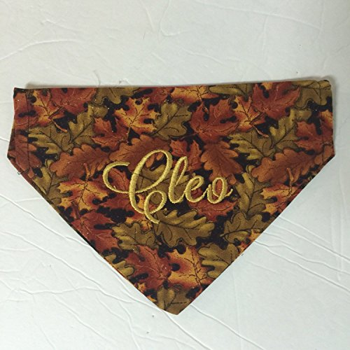 Thanksgiving Dog Bandana, Personalized Dog Bandana, Reversable, Fall Leaves Dog Bandana by Sky Pixie Designs