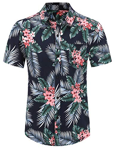 PEGENO Men's Flower Casual Button Down Short Sleeve Hawaiian Shirt (Large, 06 Palm Leaf)