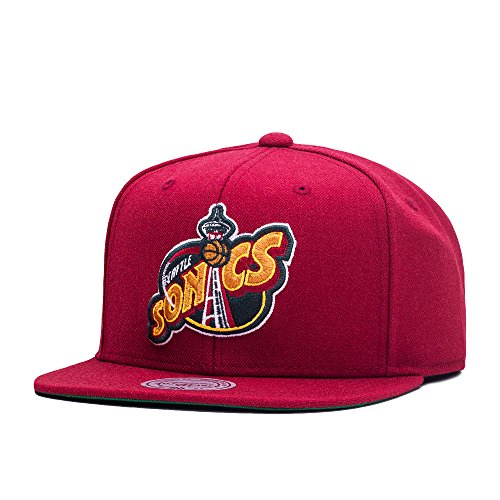 Mitchell & Ness Wool Solid 2 Seattle SuperSonics Snapback Casquette - one size - rouge