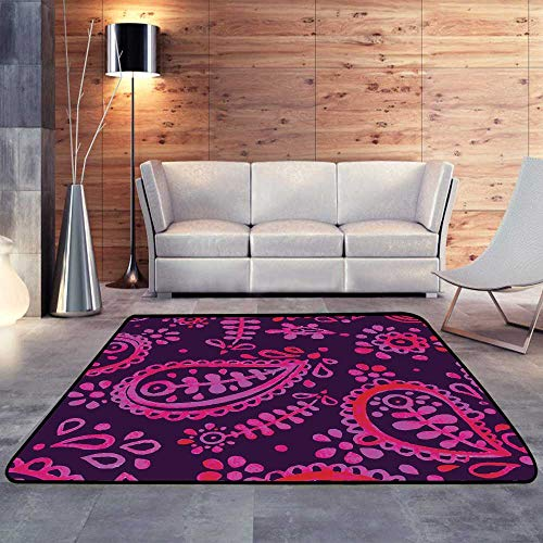 - Rugs for Outside,Pink and Purple Paisley patternW 47