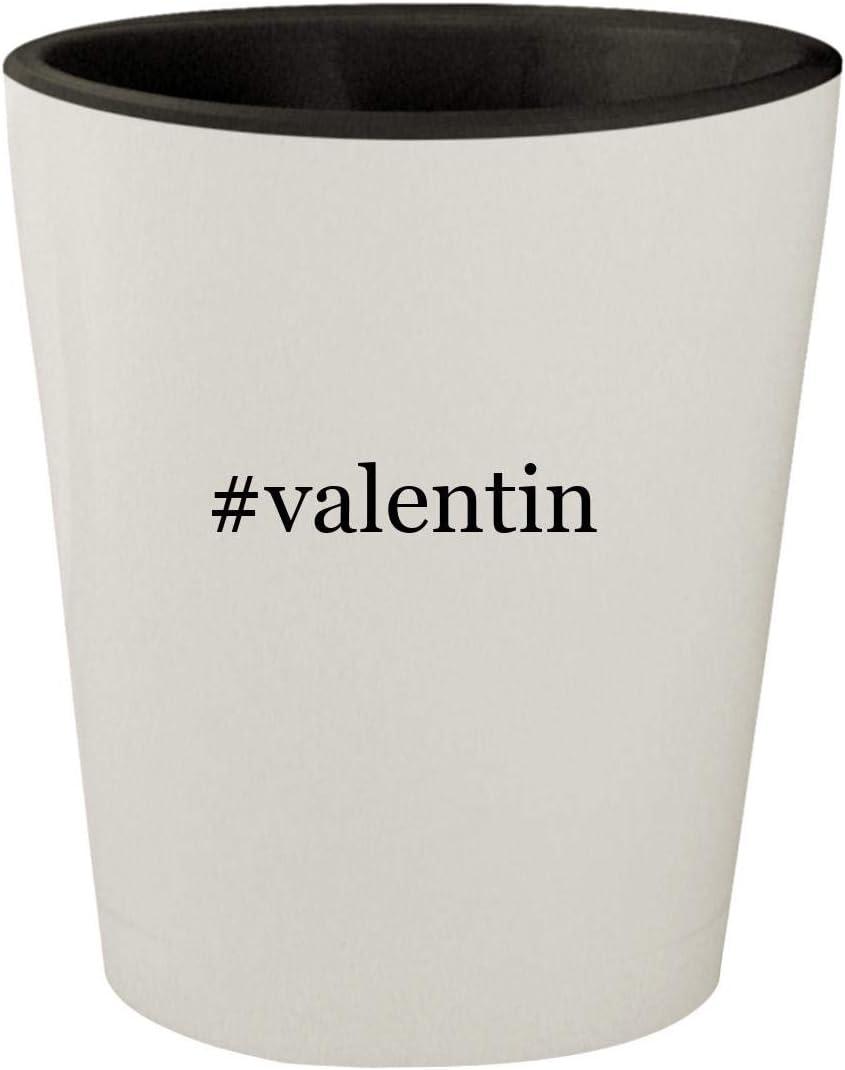 #valentin - White Outer & Black Inner Hashtag Ceramic 1.5oz Shot Glass