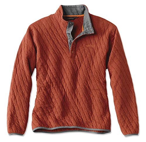 Orvis Trout Bum Quilted Snap Sweatshirt, Orange Heather, Medium (Jersey Quilted)