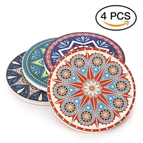 Debut21 Absorbent Stone Coasters for Drinks Set of 4/6 - Large Size Moisture Absorbing Ceramic Coasters - Protect Furniture from Dirty and Scratched - Suitable for Kinds of Mugs and Cups