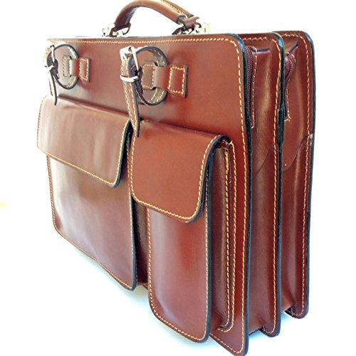 Italy Cartella 34x24x10 Borsa Classic documenti modello Marrone Made Porta Vera Pelle L Superflybags in 8AZ5nf7q