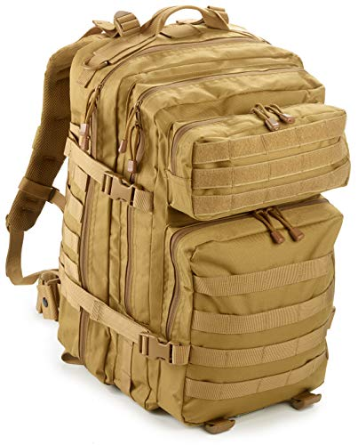 EverTac 40L Large Military Tactical MOLLE Backpack Best Pack for Bug Out Bag, 3 Day Assault, Hunting, Hiking, Rucksack (Tan)