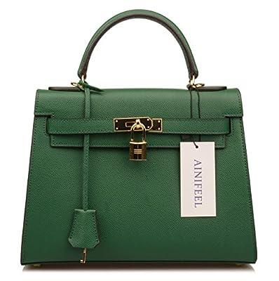 Ainifeel Women's Padlock Shoulder Handbags Purse Satchel Purse Hobo Bag (28 cm, Dark green)