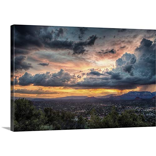 Sunset with Clouds Over Sedona, Arizona Canvas Wall Art Print, 18