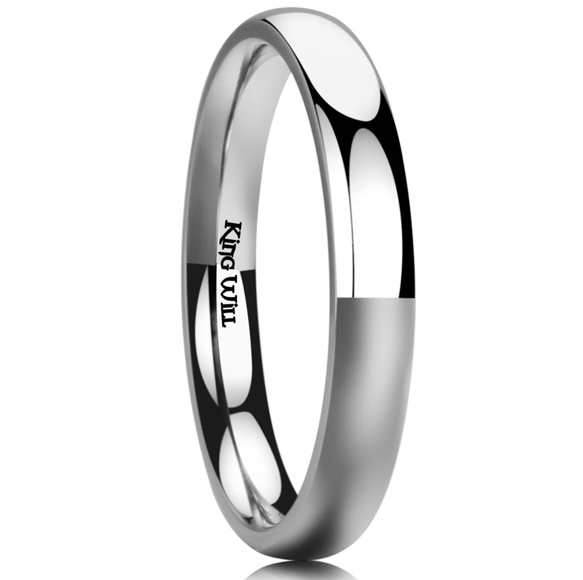 King Will BASIC 3MM Titanium Ring Domed High Polished Comfort Fit Wedding Engagement Band For Men Women 6.5