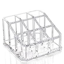 Elisona-Clear Acrylic 9-hole Lip Gloss Lipstick Nail Polish Cosmetics Makeup Storage Holder Organizer Box