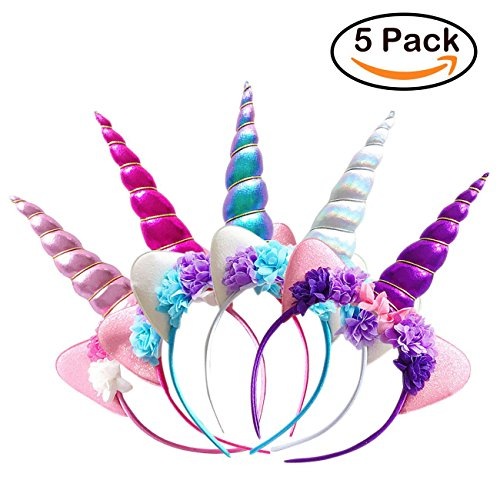 Zeekoo Unicorn Party Supplies Set,Baby Unicorn Horn Headband Rose Flower Hairband Animal Photo Props with Glitter Ears,Unicorn Birthday Cosplay for Girls Children Gift Halloween Party Costume(5 (Cute Halloween Pictures)