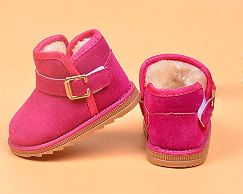 Kinder Baby Jungen Mädchen Stiefel Warm Schuhe Schneestiefel Winterschuhe Rose