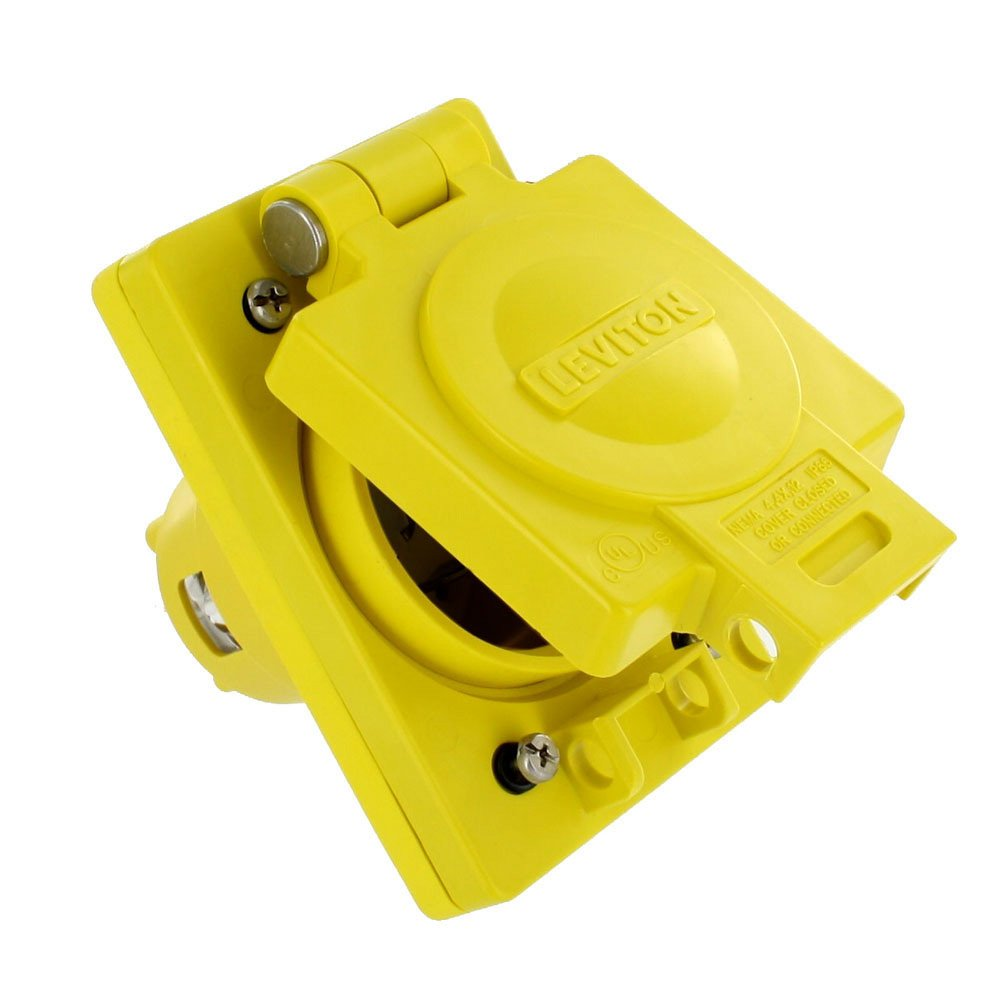 Leviton 68W77 30 Amp, 600 Volt, 3-Phase, NEMA L17-30, 3P, 4W, IP66 Rated Cover, Grounding, Corrosion Resistant, Wetguard, Single Locking Inlet, Yellow by Leviton