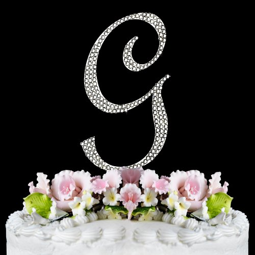 Completely Covered Swarovski Crystal Silver Wedding Cake Toppers ~ LARGE Monogram Letter G