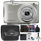 Nikon COOLPIX A100 20.1MP f/3.7-6.4 Max Aperture Compact Digital Camera Accessory Bundle Silver