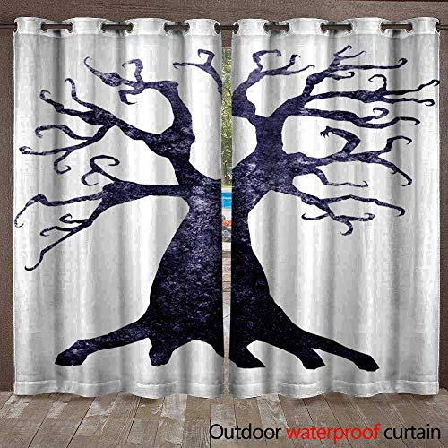 (BlountDecor Outdoor Curtain Panel for Patio Halloween Silhouette of Watercolor Terrible Dead Tree Isolated on White Background Waterproof CurtainW108 x)