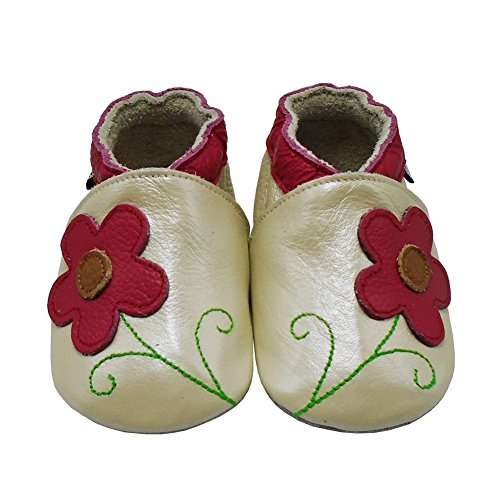 Mejale Weiche Sohle Leder Babyschuhe Lauflernschuhe Krabbelschuhe Kleinkind Kinderschuhe Hausschuhe Karikatur Blume Pearl Beige