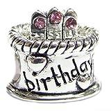 Sterling Silver Pink Rhinestone Simulated October Birthstone Birthday Cake European Bead Charm