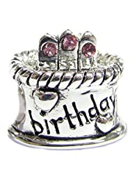Sterling Silver Birthday Cake Simulated Birthstone Round European Bead Charm