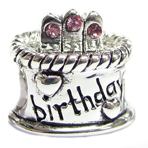 Sterling Silver Pink Rhinestone Simulated October Birthstone Birthday Cake European Bead Charm