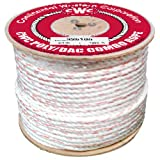 CWC 3-Strand Poly Dacron Rope, White with Blue/Orange Tracers (1/2'' x 600' - 4400 lb. Tensile)