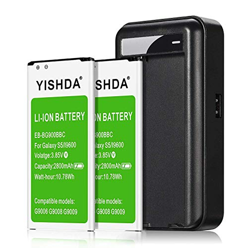 Galaxy S5 Battery, YISHDA 2x2800mAh Replacement Batteries Compatible with Samsung Galaxy S5 with S5 Battery Charger Compatible Galaxy S5 Active I9600 G900F G900V G900T | Samsung S5 Spare Battery (Cell Phone Spare Battery Charger)