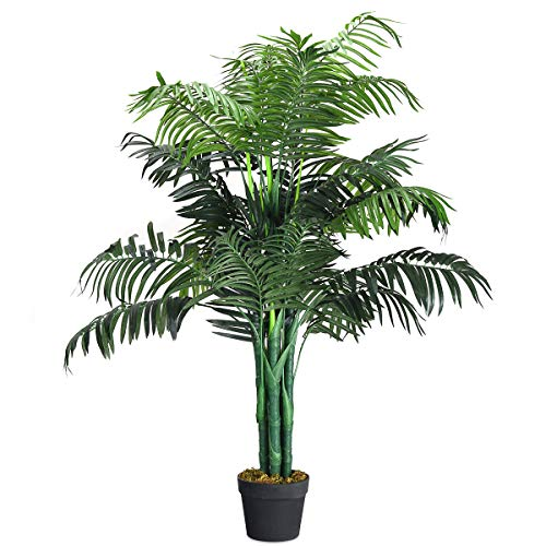 Goplus Fake Palm Tree Artificial Greenery Plants in Nursery Pot Decorative Trees for Home, Office, Lobby (3.5Ft Palm Tree) ()