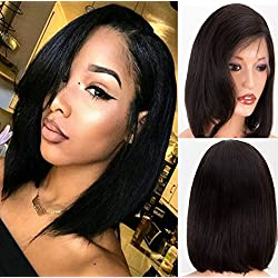 Chantiche Natural Straight Human Hair Wigs with Baby Hair Brazilian 360 Bob Human Hair Lace Wig for Women Natural Color 150% Density 10inches