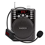 XIAOKOA Bluetooth Voice Amplifier with Wireless Headset Microphone Bluetooth Speaker FM Radio MP3 Player Recorder for Teachers Coaches(N37A-black)