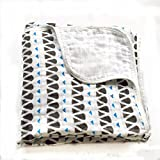 Muslin Blankets,Cotton Muslin Swaddle,Super Soft Double Layers Swaddle Blankets 47''x 47''Gift Pack(Blue Drop)