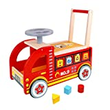 Pidoko Kids Wooden Ride On Fire Truck Baby Wagon Walker - Wooden Push and Pull Paddle Scoot Balance Bike Cart Toy for Boys & Girls, Toddlers age 18 months and up