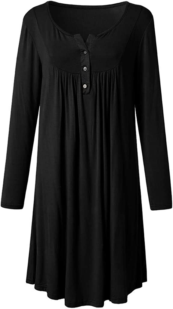 FEDULK Womens Dress Long Sleeve Above Knee Solid Loose Casual Flared Party Midi Dress