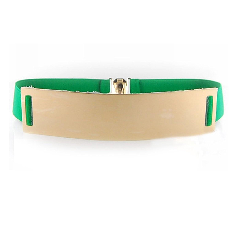 Lady Women Mirror Gold Plate Metal Waist Elastic Belt Waistband Obi Band Green