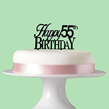 Happy 55th Birthday Cake Tooper Party Decorations Acrylic Black
