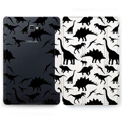 Wonder Wild Cute Dinosaurs Samsung Galaxy Tab S4 S2 S3 Smart Stand Case 2015 2016 2017 2018 Tablet Cover 8 9.6 9.7 10 10.1 10.5 Inch Clear Design Brontosaurus Tyrannosaurus Raptor Animals Geological -