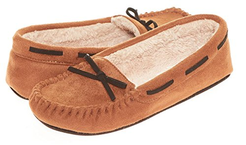 Seranoma Women's Slip-On Faux Fur Lined Flats Moccasin Slipper(S, Walnut) by Seranoma