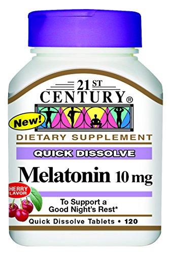 21st Century Melatonin Quick Dissolve Tablets, Cherry, 10 mg